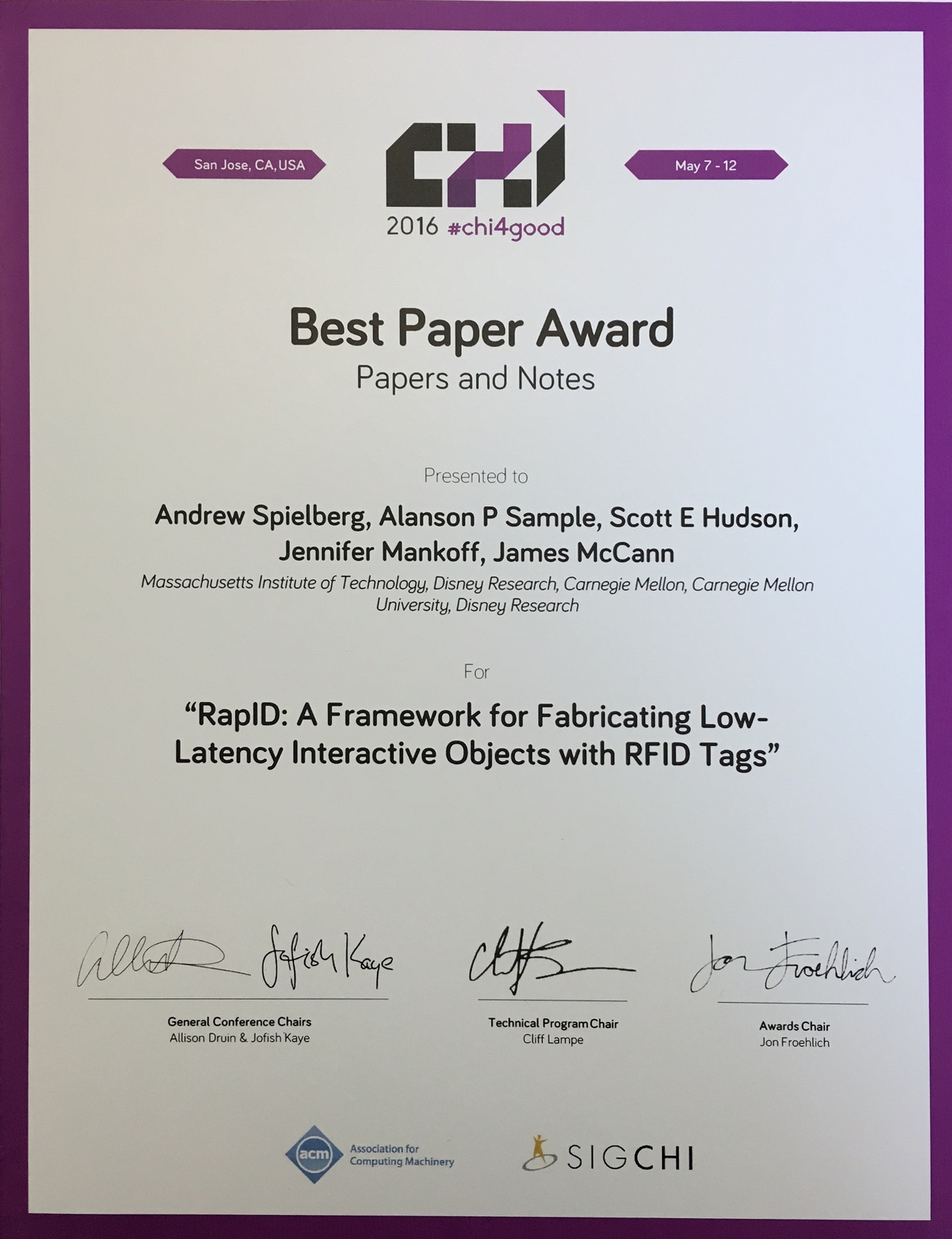 Interactive rfid alanson sample best paper award yelopaper Gallery